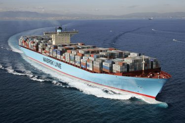 Estelle Maersk on her maiden voyage. Departing Algeciras for the Suez on the 27th November 2006 Picture must be credited Simon Burchett www.channelphotography.com